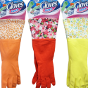 House Care Designer Latex Gloves, Designer Fashion Red,Yellow & Orange Long-Cuff Reusable Basics Multi Purpose Gloves to Use Indoor & Outdoor Textured Grip! – One Size Fits All CH10049