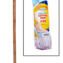 CleanHouse #24  Cotton Mop with Handle Ideal For Indoor and Outdoor Use for Kitchens,Bathrooms and all Household use – Traditional White cotton Yarn Mop – Great for smaller areas – Solid wood handle – Heavy duty made to last CH10021