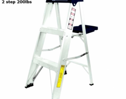 TC Ladder Aluminum 2 Step 200LBS 3205 Fully Assembled Multi-Use for Household Office Ultra-Light Sturdy Two-Step LadderTC3205 (HW001)