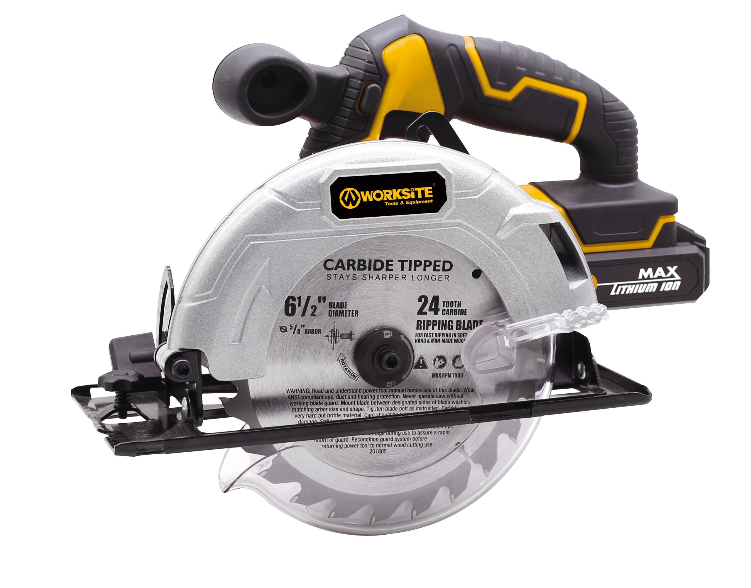 """Worksite Cordless Circular Saw 20V, 2.0AH Battery and FAST Charger. High-Performance Motor delivers 4000 RPM's for aggressive cutting. 6-1/2″"" Carbide Tooth Blade delivers a 2-1/8′ cutting capacity.  Its lightweight design reduces jobsite fatigue, Comfortable rubberized Handle grip. CCS326″"