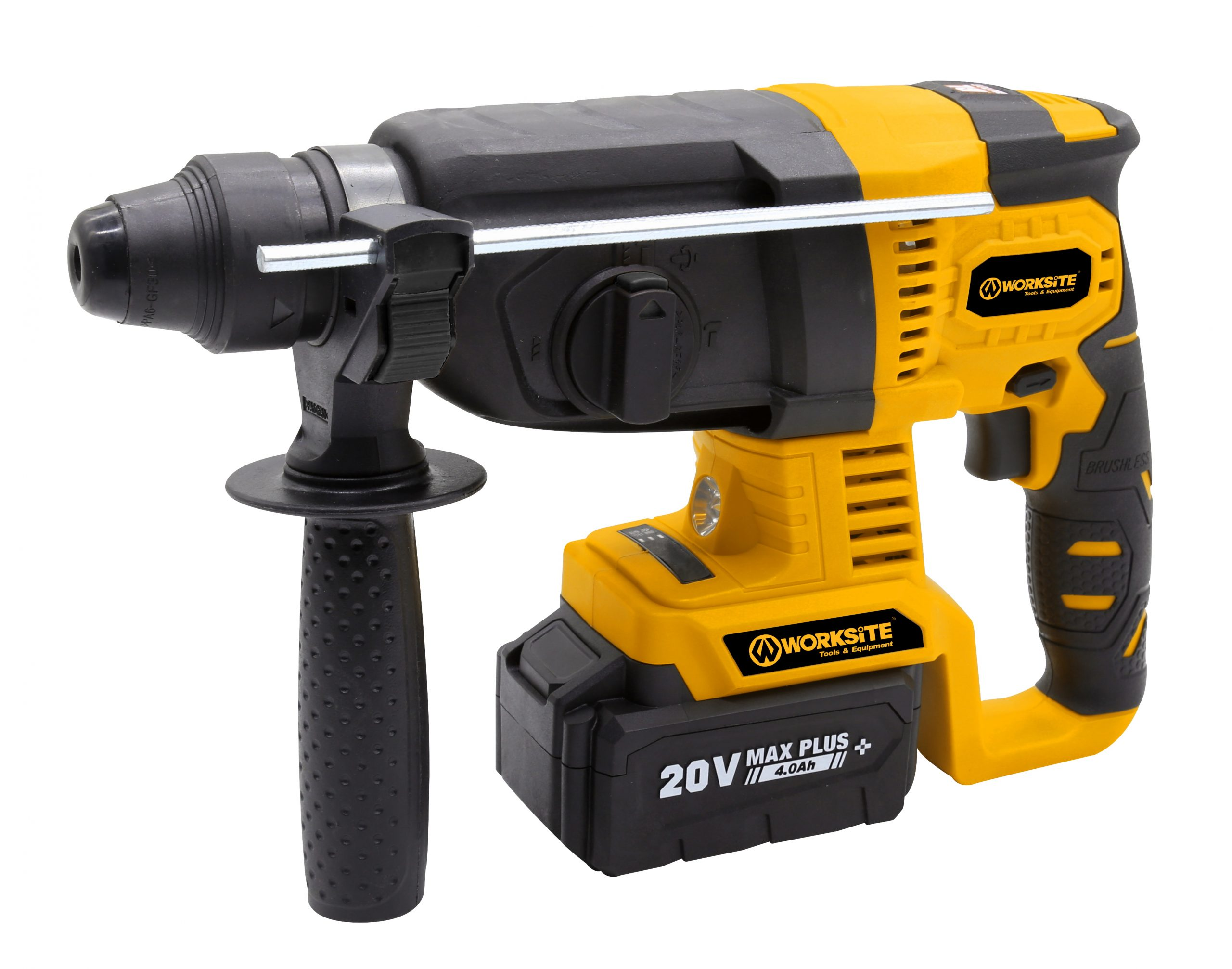 Worksite Brushless Cordless Rotary Hammer Drill, SDS Plus, 20V Max, 4.0AH Battery and FAST Charger, Chuck Size 1/2″INCH CRH326