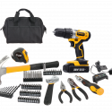 Worksite Power Tools Combo Kit 70pcs. Advanced tools for designing, repairing. Cordless Project Kit With 20V Cordless Drill, Screwdriver Bits, Tool Bag, Hammer, Tape, Drill Bits, Pliers, 20V battery charger, Adjustable Wrench & more CT70-CB