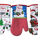 """HomeStyle Oven Mitt 15"""" Plush Home 100% Cotton Vintage Printed Kitchen Oven Mitt with Hanging Loop, Food Safe, Oven Gloves for Thanksgiving, Christmas, Kitchen, Cooking & Baking Size – 15"""" CV76553XM"""
