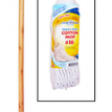CleanHouse #16  Cotton Mop with Handle Ideal For Indoor and Outdoor Use for Kitchens,Bathrooms and all Household use – Traditional White cotton Yarn Mop – Great for smaller areas – Solid wood handle – Heavy duty made to last CH10020