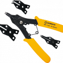 Worksite Pro. 4-in-1 Snap Ring Plier 10-50mm Combination Clip Retaining, Multifunctional, Interchangable, rust-resistant finish. Easy to use. Replaceable Plier Heads. For installing or removing circlips site. WT1128