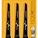 WORKSITE Reciprocating Blade 3Pcs – Saw Blades –  Set Cuts Wood HCS, 150*19*1.2mm, 6TPI WTR6T